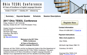 Registration is now open for the 2017 Ohio TESOL conference